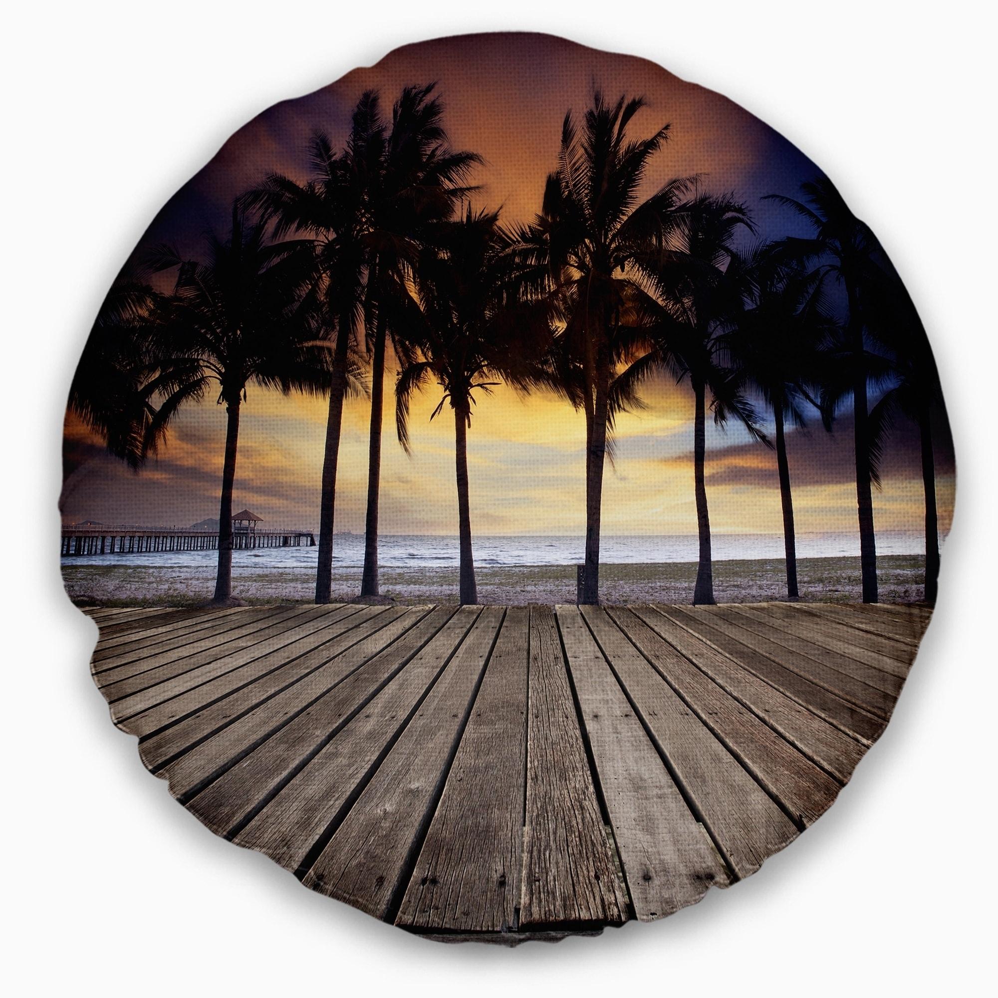 Designart Old Wood Terrace On Sea Beach Modern Landscape Printed Throw Pillow On Sale Overstock 20890500