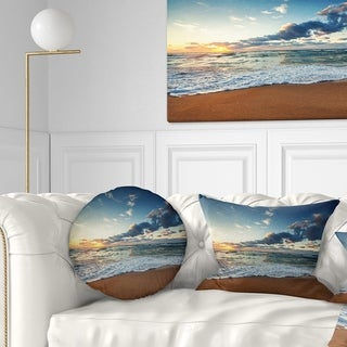Designart 'Sunrise and Glowing Waves in Ocean' Seascape Throw Pillow