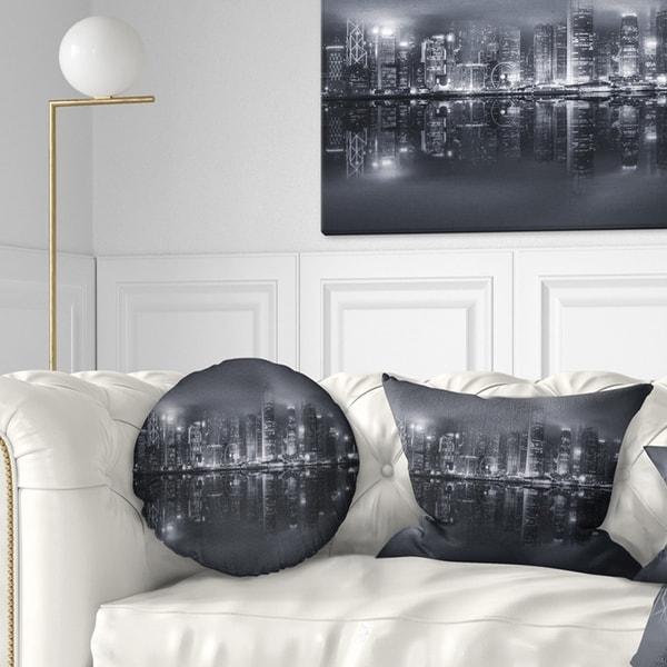 Designart 'Hong Kong Black and White Skyline' Cityscape Throw Pillow