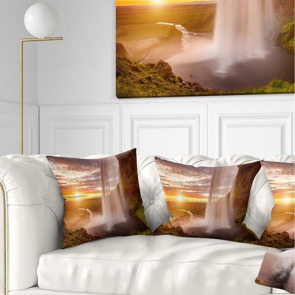Designart 'Seljalandsfoss Waterfall at Sunset' Landscape Photography Throw Pillow