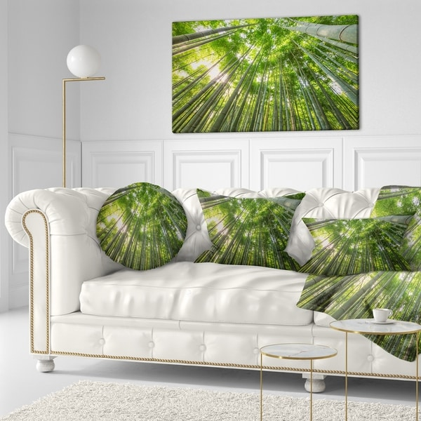 Designart 'Peaks of Bamboo in Kyoto Forest' Oversized Forest Throw Pillow