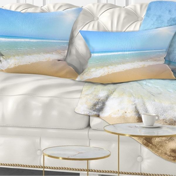 Designart 'Sun Over Tropical Beach' Seashore Photo Throw Pillow