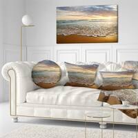 Designart 'Bright Cloudy Sunset in Calm Ocean' Seashore Throw Pillow