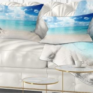 Designart 'Sand of Beach in Blue Caribbean Sea' Modern Seascape Throw Pillow