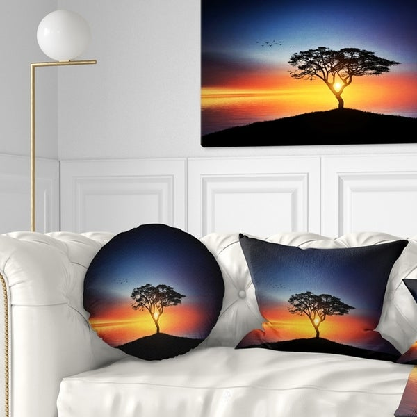 Designart 'Beautiful Sunset over Lonely Tree' Landscape Printed Throw Pillow