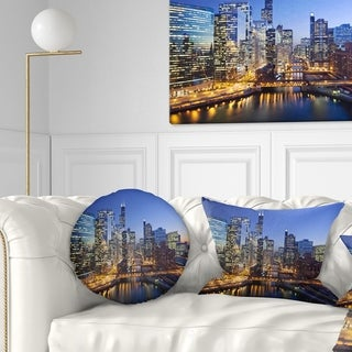 Designart 'Chicago River with Bridges at Sunset' Cityscape Throw Pillow