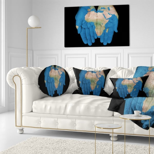 Designart 'African Map in Our Hands' Abstract Throw Pillow