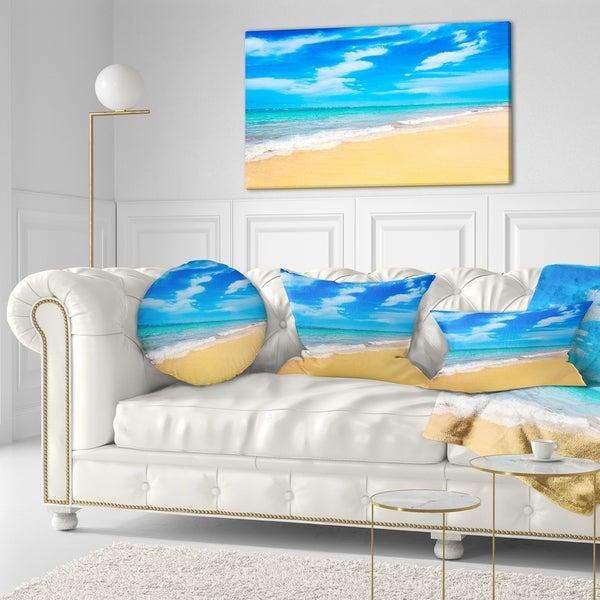 Designart 'Blue Sandy Tropical Sea Beach' Seascape Throw Pillow