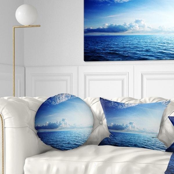 Designart 'Blue Caribbean Sea and Perfect Blue Sky' Seascape Throw Pillow