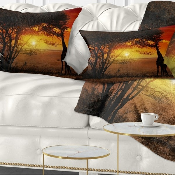 Designart 'Typical African Sunset with Giraffe' African Landscape Printed Throw Pillow