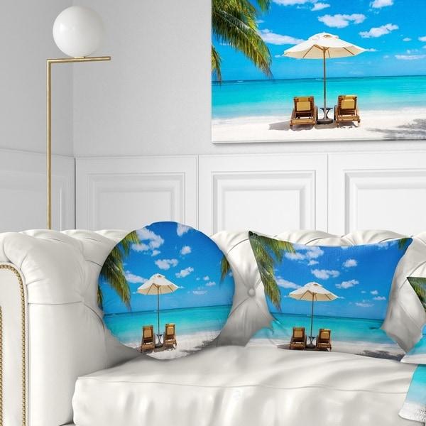 Designart 'Turquoise Beach with Chairs' Seashore Photo Throw Pillow