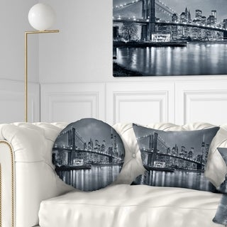 Designart 'Panorama New York City at Night' Cityscape Throw Pillow