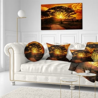 Designart 'African Sunset with Lonely Tree' African Landscape Printed Throw Pillow