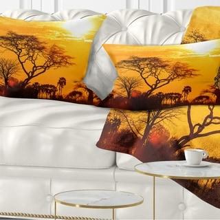 Designart 'Orange Glow of African Sunset' Landscape Printed Throw Pillow