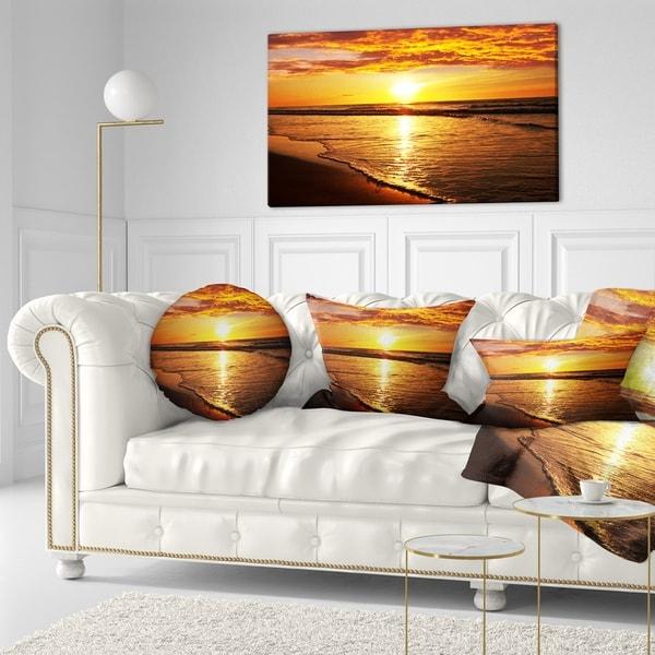 Designart 'Bright Yellow Sunset over Waves' Modern Beach Throw Pillow