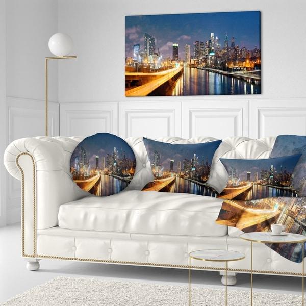 Designart 'Philadelphia Skyline at Night' Cityscape Throw Pillow