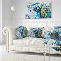 Designart 'Beautiful Peacock Watercolor' Abstract Throw Pillow
