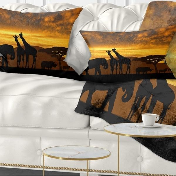 Designart 'Giraffes and Elephant and Rhino' African Throw Pillow