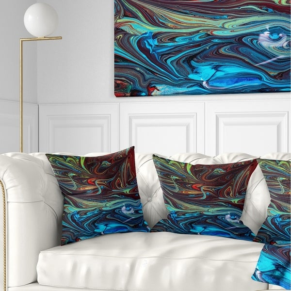 Designart 'Red Blue Abstract Acrylic Paint Mix' Abstract Throw Pillow