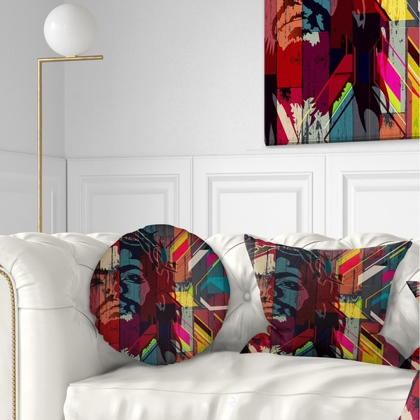 Designart 'Jesus over Abstract Wooden Design' Abstract Throw Pillow