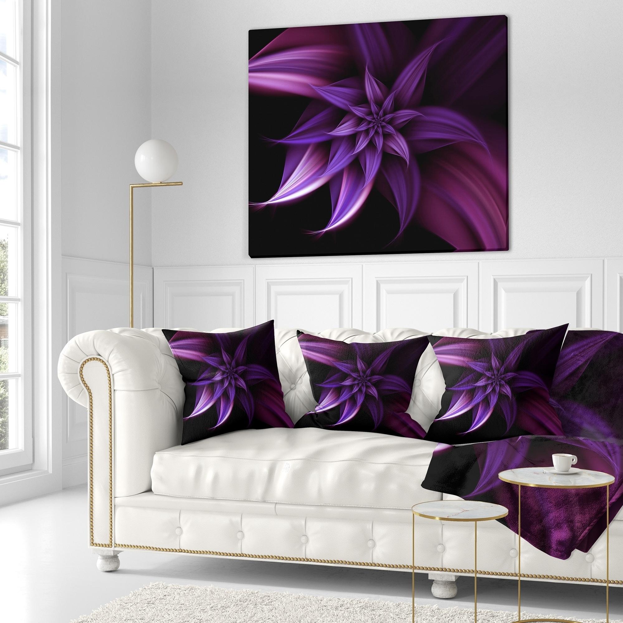 Designart Fractal Flower Purple Floral Throw Pillow 18x18 As Is Item Overstock 24035891