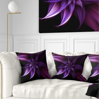 Designart 'Fractal Flower Purple' Floral Throw Pillow