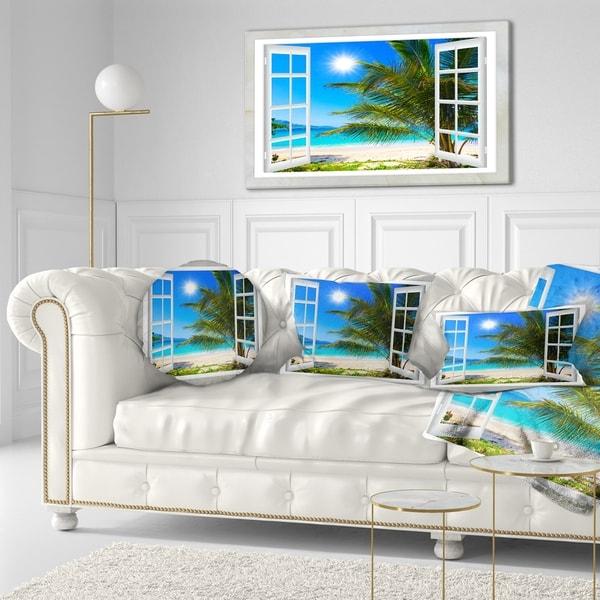Designart 'Window Open to Beach with Palm' Seashore Throw Pillow