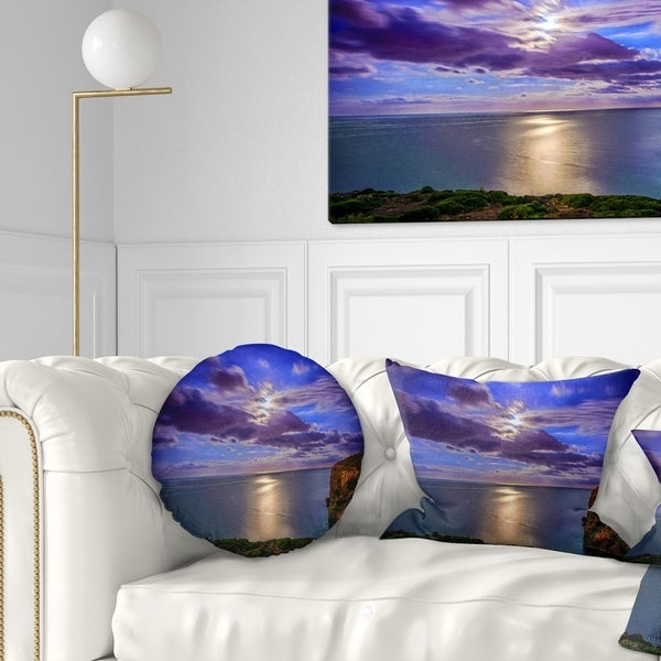 Designart 'Moon Reflecting in Blue Sea' Modern Seascape Throw Pillow