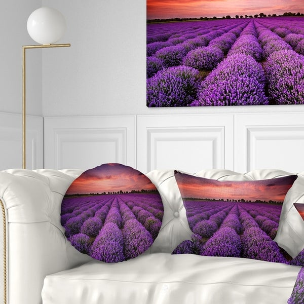 Designart 'Red Sunset Over Lavender Field' Landscape Printed Throw Pillow