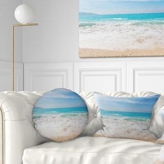 Design Artdesignart White Waves Kissing Beach Sand Seashore Throw Pillow Round 20 Inches Round Large Dailymail
