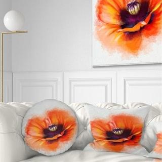 Designart 'Cute Orange Watercolor Flower' Flowers Throw Pillowwork
