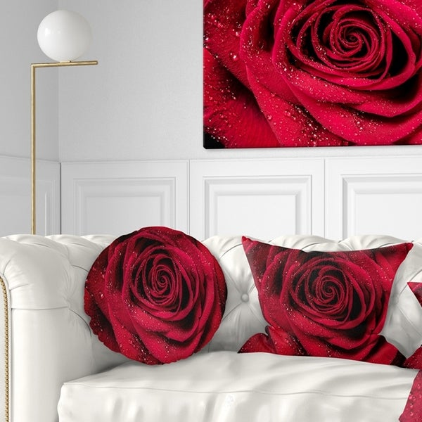 Designart 'Red Rose Petals with Rain Droplets' Floral Throw Pillow