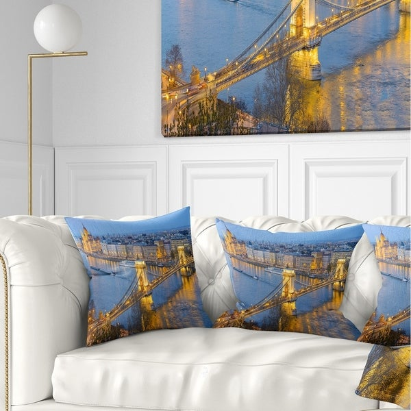 Designart 'Chain Building and Parliament in Budapest' Cityscape Throw Pillow