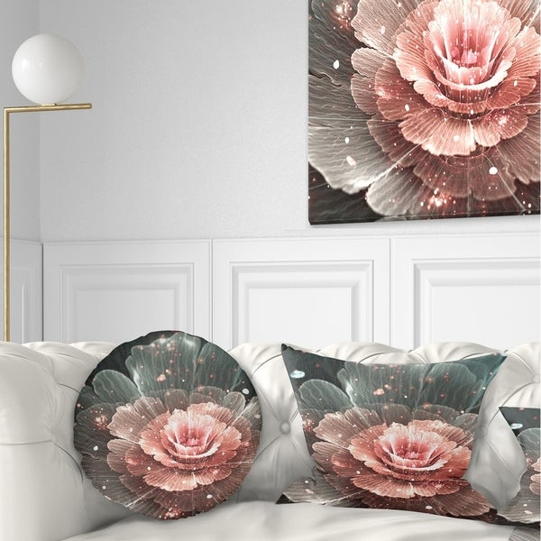 Designart 'Abstract Fractal Pink Gray Flower' Floral Throw Pillow