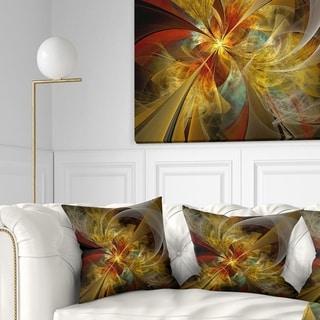 Designart 'Bright Yellow Symmetrical Flower Design' Floral Throw Pillow