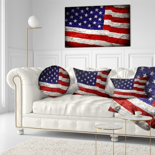 Designart 'Large American Flag Watercolor' Abstract Throw Pillow