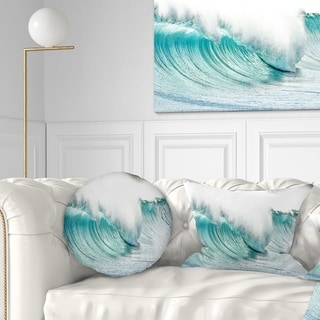 Designart 'Massive Blue Waves Breaking Beach' Seashore Throw Pillow