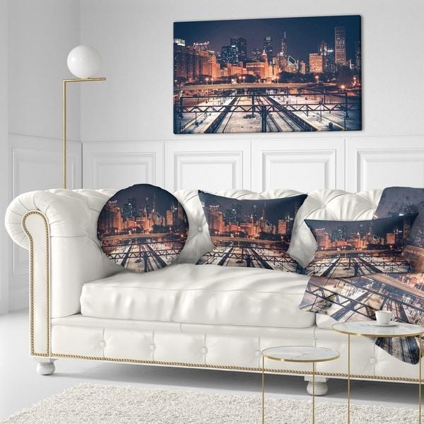 Designart 'Dark Chicago Skyline and Railroad' Cityscape Throw Pillow