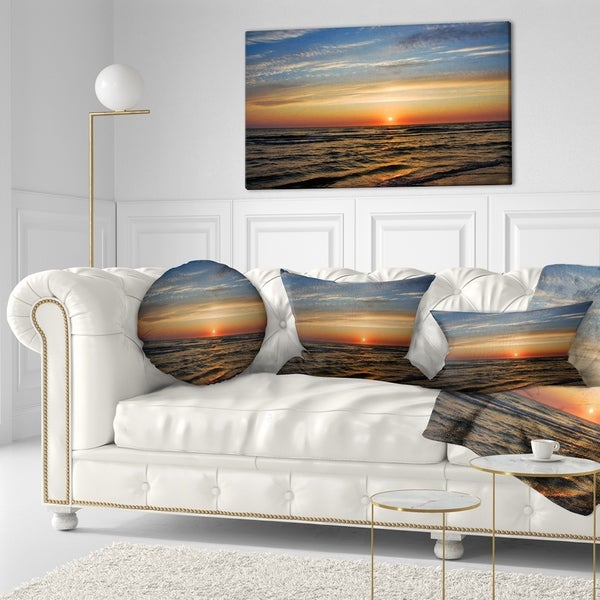 Designart 'Red Sunset with Dark Ocean Waves' Seascape Throw Pillow