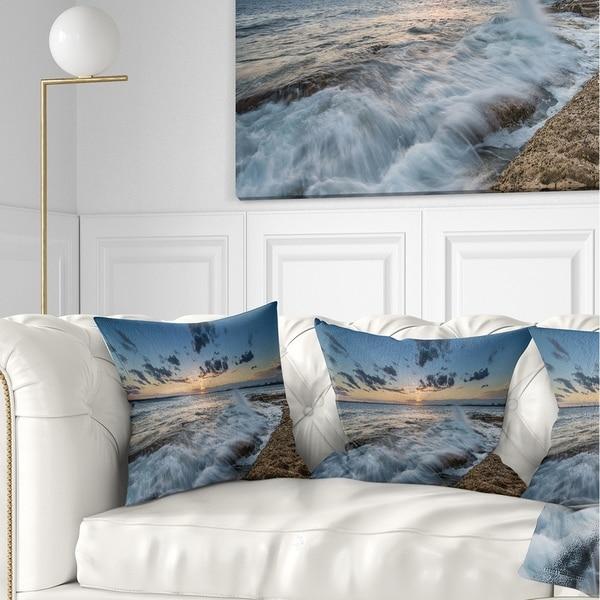 Designart 'Sydney Sunset at La Per House' Seascape Throw Pillow