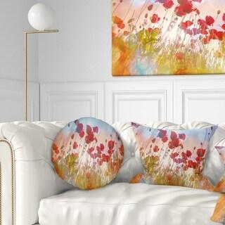 Designart 'Cute Poppy Flowers in Sunlight' Floral Throw Pillow