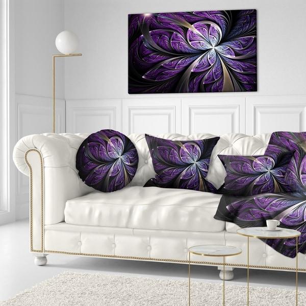 Designart 'Glittering Purple Fractal Flower' Floral Throw Pillow