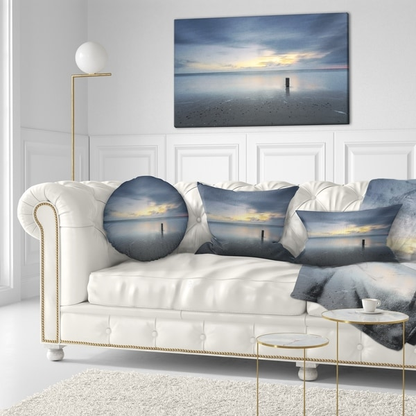 Designart 'Stormy and Dark Sea Sunset' Seascape Throw Pillow