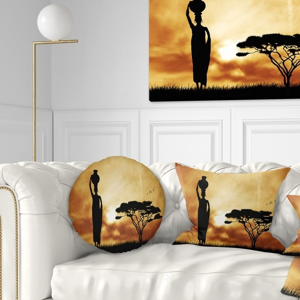 Designart 'African Woman and Lonely Tree' African Landscape Printed Throw Pillow