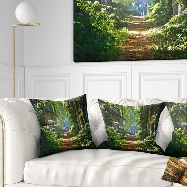 Designart 'Bright Green Forest in Morning' Landscape Photography Throw Pillow