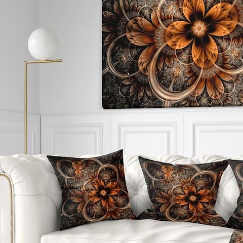 Designart 'Dark Orange Digital Art Fractal Flower' Floral Throw Pillow