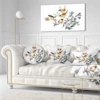 Designart 'Designart Tropical Flowers and Birds' Birds Throw Pillow
