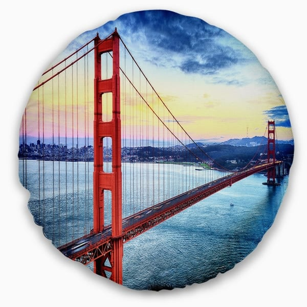 Designart Golden Gate Bridge In San Francisco Sea Bridge Throw Pillow On Sale Overstock 20890726