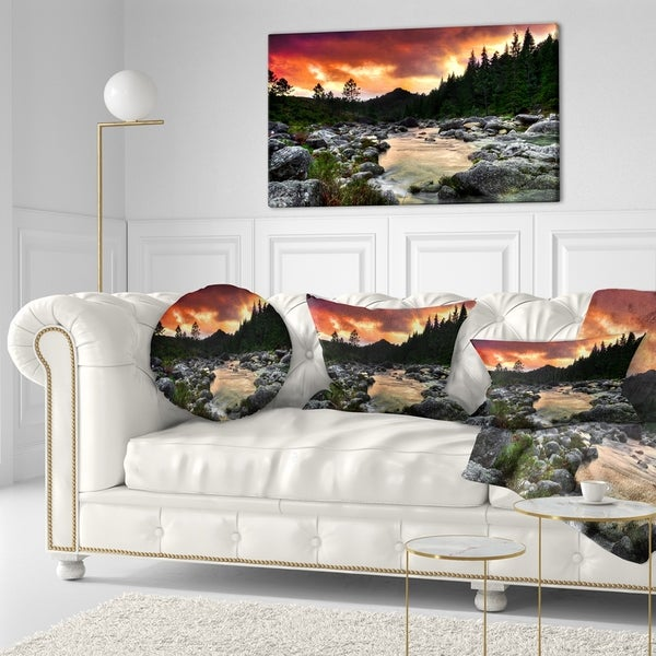 Designart 'Rocky Mountain River at Sunset' Landscape Printed Throw Pillow