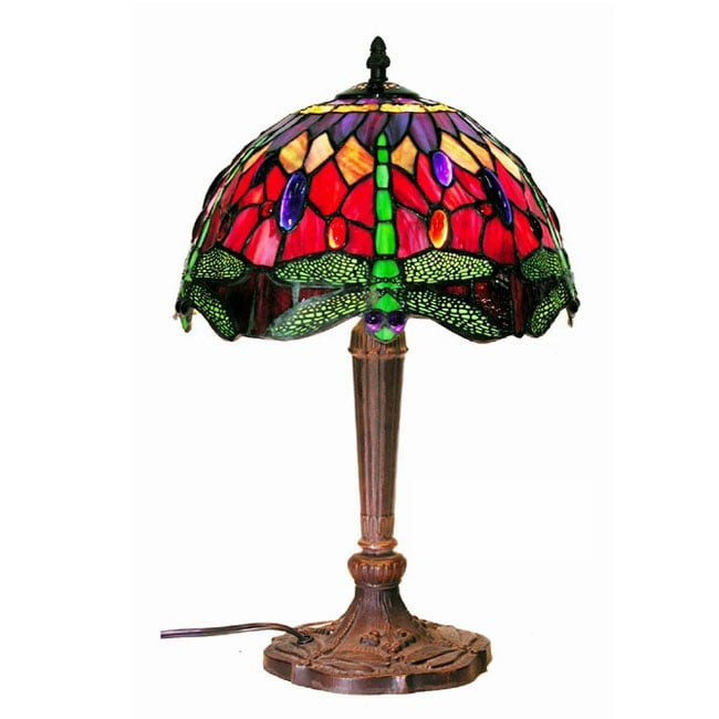 Tiffany-style Purple/Red Dragonfly Lamp - Thumbnail 0
